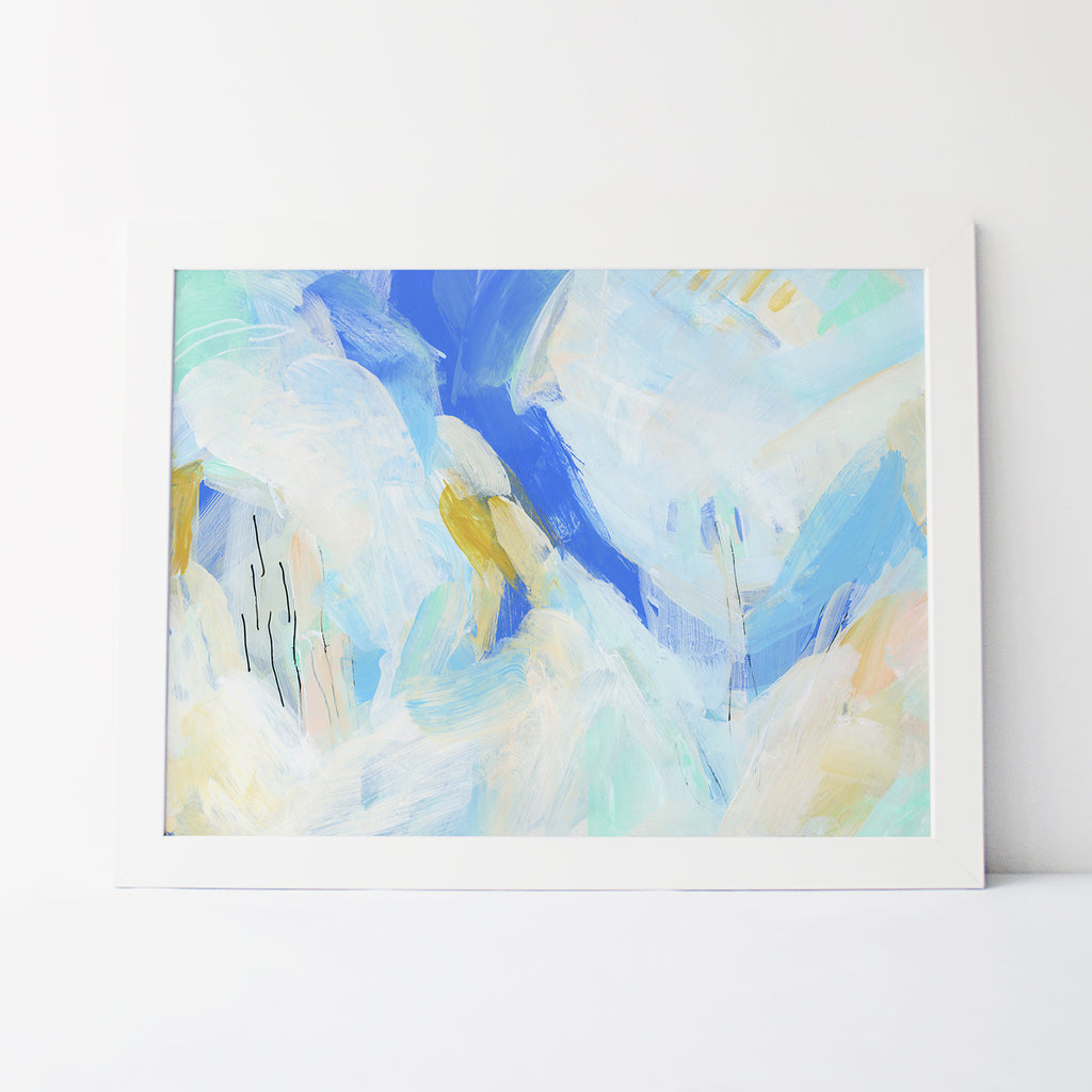 Bright + Light Ocean Abstracted Contemporary Modern Beach Wall Art Print or Canvas - Jetty Home