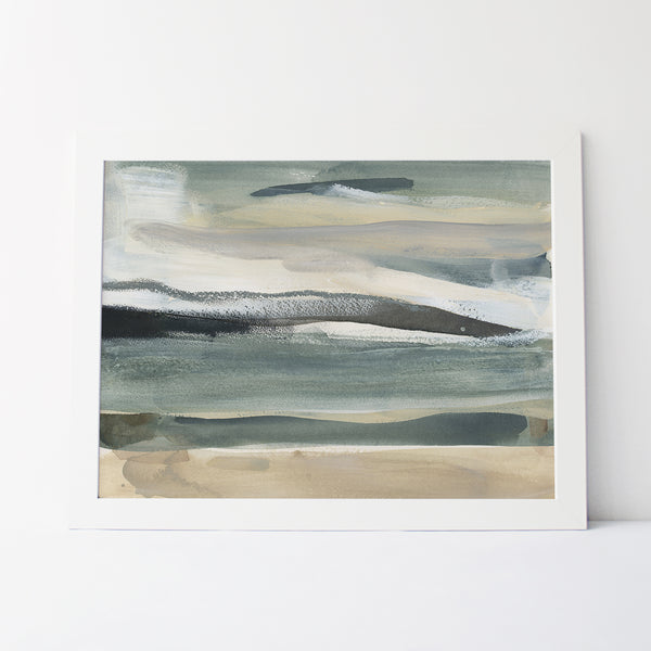 Lake Landscape Neutral Abstract Painting Wall Art Print or Canvas - Jetty Home