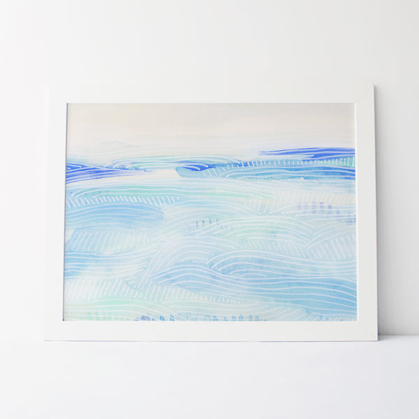 Coastal Landscape Watercolor Painting Beach House Wall Art Print or Canvas - Jetty Home