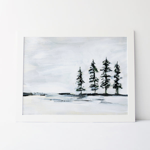 Pine Tree Painting White and Dark Green Landscape Wall Art Print or Canvas - Jetty Home