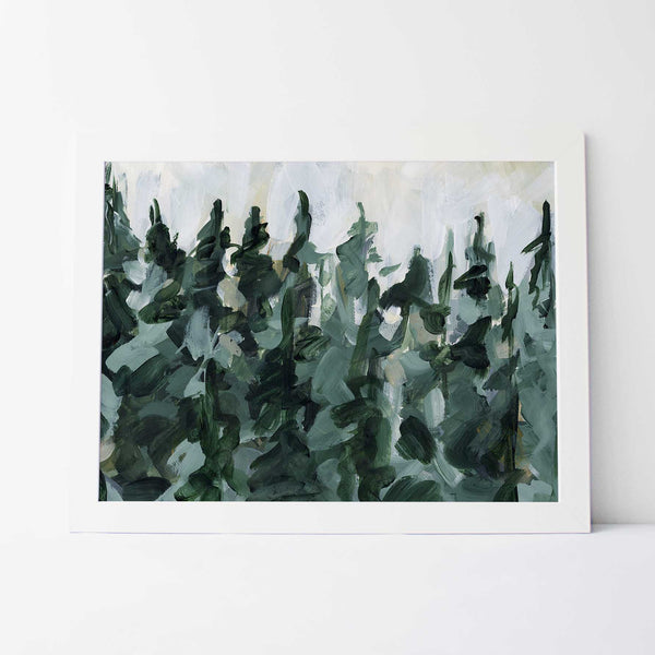 Forest Pine Tree Line Painting Green and White Wall Art Print or Canvas - Jetty Home