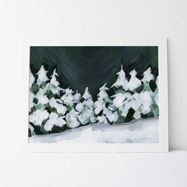Night Sky Snowscape Winter Evergreens Pine Tree Painting Wall Art Print or Canvas - Jetty Home