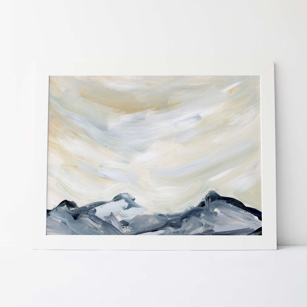 Mountain Range Minimalist Painting Wall Art Print or Canvas - Jetty Home
