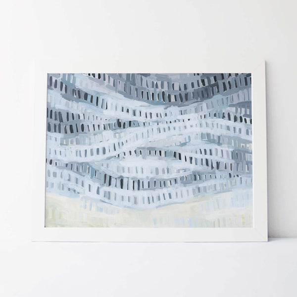 Ocean Shallows Abstract Blue Painting Wall Art Print or Canvas - Jetty Home