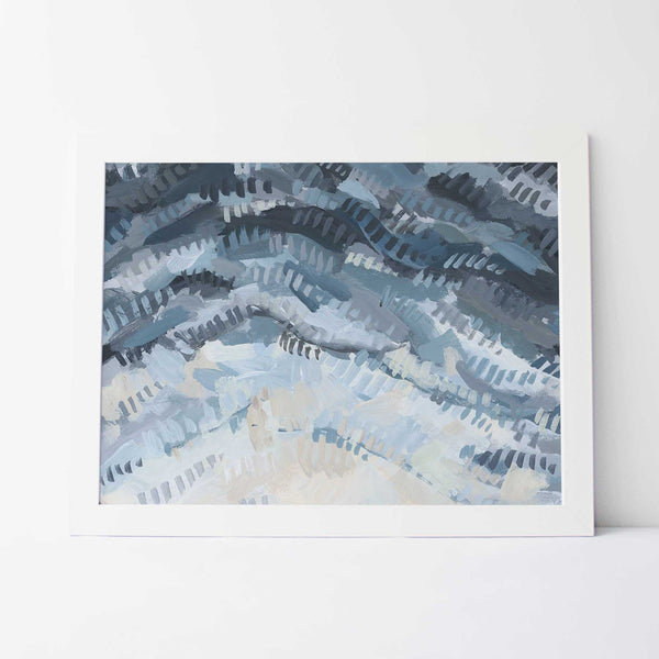 Abstract Aerial Ocean Shallows Beach Painting Wall Art Print or Canvas - Jetty Home