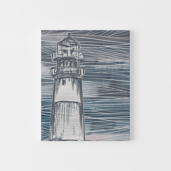 Nautical Abstract Blue Lighthouse Modern Coastal Wall Art Print or Canvas - Jetty Home