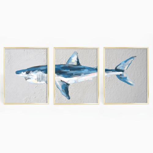 Mako Shark Triptych Wall Art Print - Jetty Home