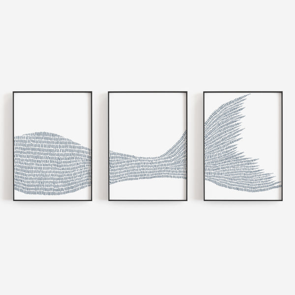Mermaid Illustrated Line Triptych Set of Three Wall Art Prints or Canvas - Jetty Home