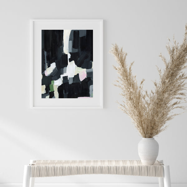 Bold Abstract Painting Black and White Contemporary Modern Wall Art Print or Canvas - Jetty Home