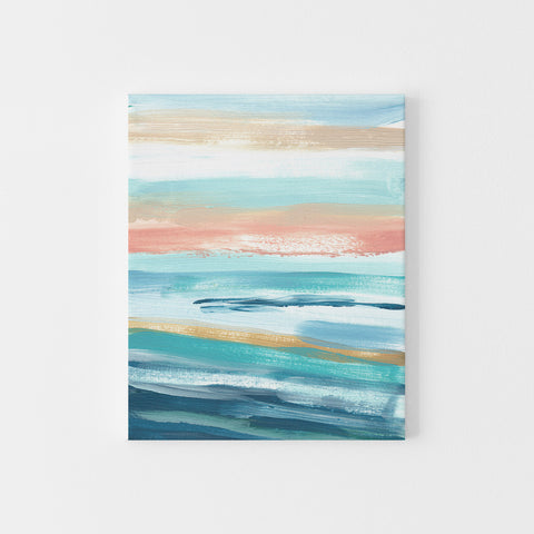 Modern Seascape Blue, Turquoise and Salmon Pink Painting Wall Art Print or Canvas - Jetty Home