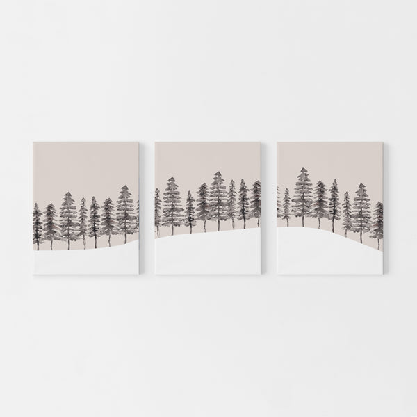 Modern Nordic Pine Tree Triptych Wall Art Print or Canvas - Jetty Home