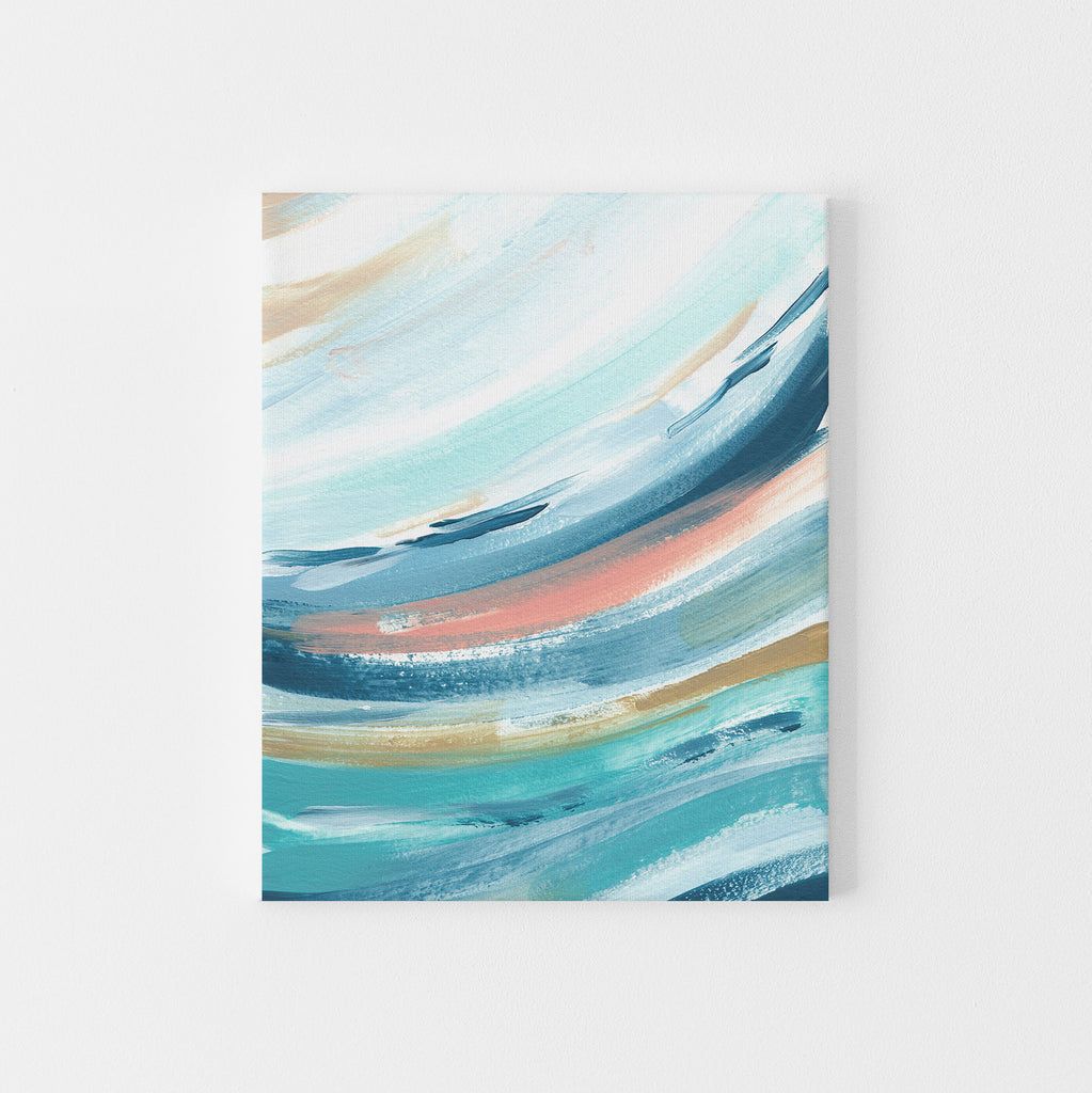 Contemporary Beach House Swell Wave Painting Wall Art Print or Canvas - Jetty Home