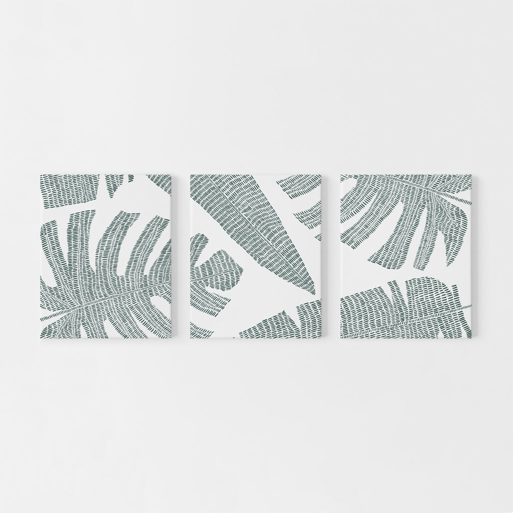 Tropical Botanicals Palm Leaf Triptych Set Of Three Wall Art Prints Or Jetty Home