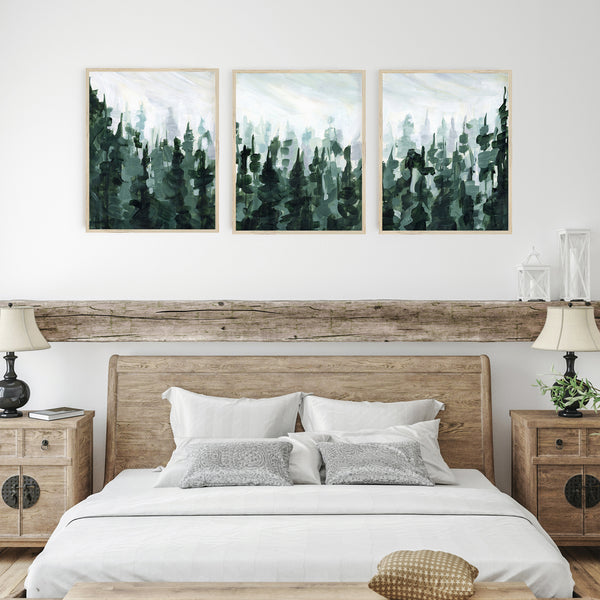 Pine Tree Forest Green and White Painting Triptych Set of Three Wall Art Prints or Canvas - Jetty Home