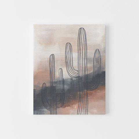 Modern Desert Abstract Painting Saguaro Cactus Wall Art Print or Canvas - Jetty Home