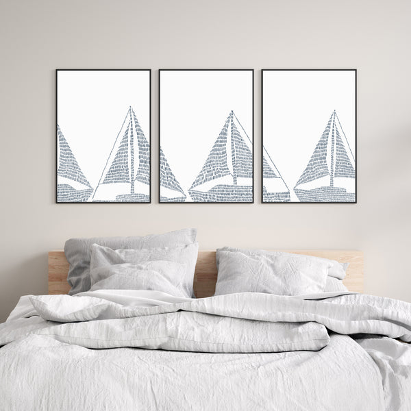 Sailboat Modern Nautical Blue Triptych Set of Three Wall Art Prints or Canvas - Jetty Home