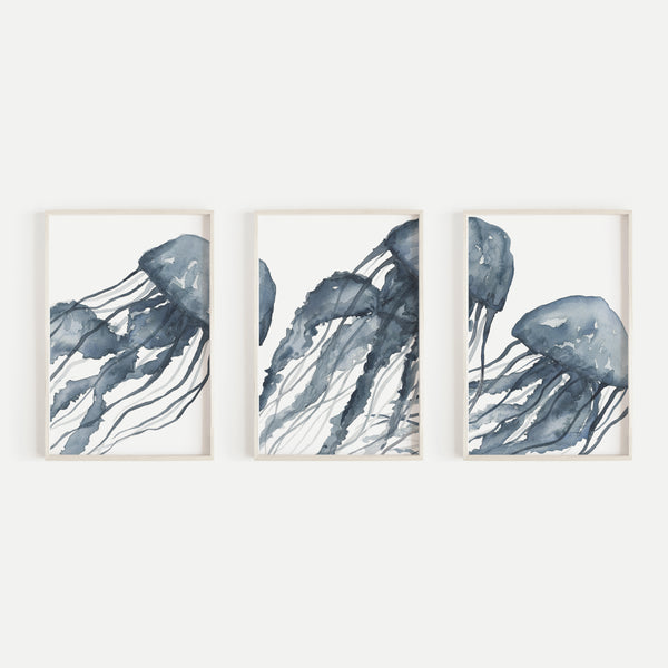 Blue Jellyfish Painting Triptych Wall Art Print or Canvas - Jetty Home
