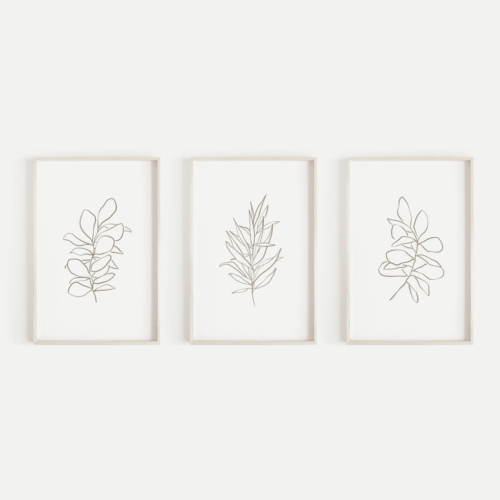 Eucalyptus Plant Illustrations Modern Minimalist Triptych Set of Three Wall Art Prints or Canvas - Jetty Home