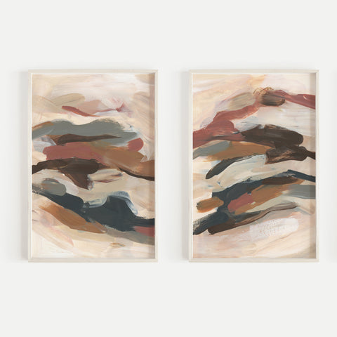 Abstract Paintings Modern Warm Burnt Rust and Beige Set of 2 Wall Art Print or Canvas - Jetty Home