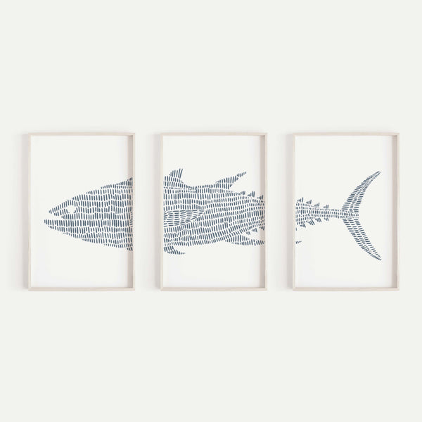 Tuna Fish Modern Nautical Navy Blue Triptych Set of Three Wall Art Prints or Canvas - Jetty Home