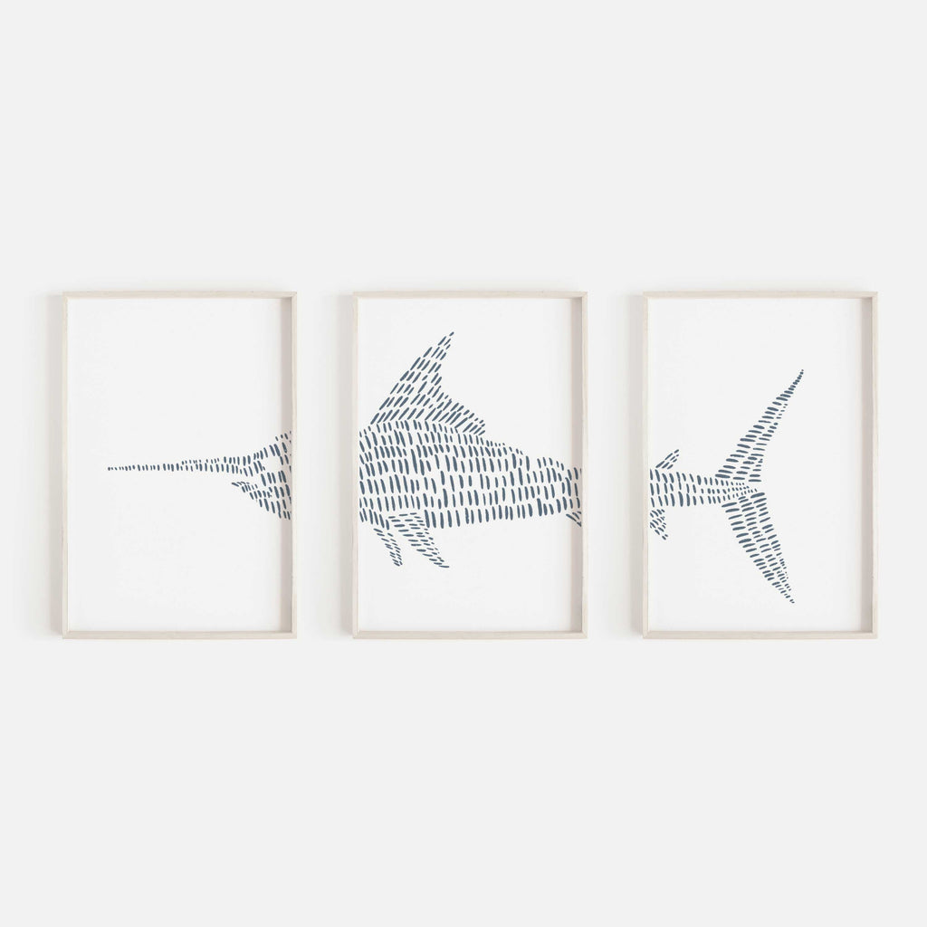 Swordfish Illustrated Line Triptych Set of Three Wall Art Prints or Canvas - Jetty Home