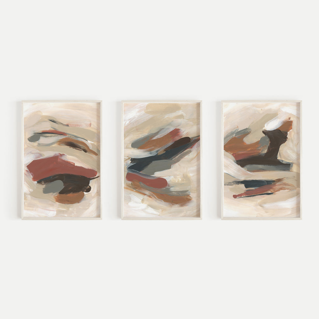 Abstract Warm Neutral Earth Tone Paintings Triptych Set of Three Wall Art Prints or Canvas - Jetty Home