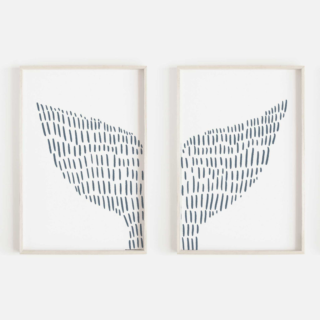 Whale Tail Modern Coastal Illustration Set of 2 Wall Art Print or Canvas - Jetty Home