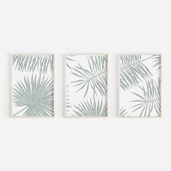 Palm Frond Green and White Minimalist Triptych Set of Three Wall Art Prints or Canvas - Jetty Home