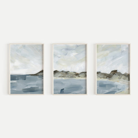 Minimal Seascape Shoreline Painting Triptych Set of Three Wall Art Prints or Canvas - Jetty Home