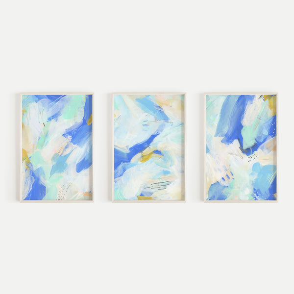 Modern Abstract Coastal Beach Blue White Beige Triptych Set of Three Wall Art Prints or Canvas - Jetty Home