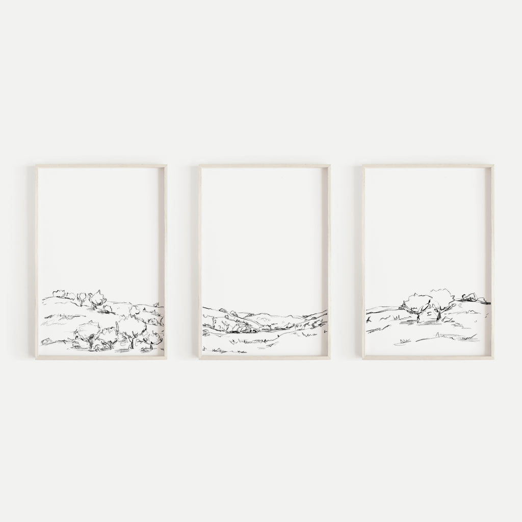 Black and White Landscape Hillside Oak Tree Triptych Set of Three Wall Art Prints or Canvas - Jetty Home