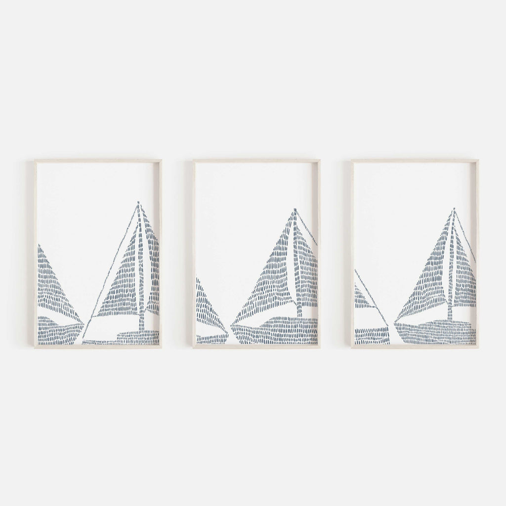 Sailboat Modern Nautical Blue Triptych Set Of Three Wall Art Prints Or Jetty Home