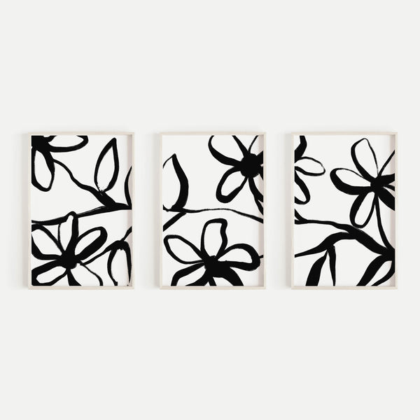 Bold Floral Modern Black and White Drawing Triptych Set of Three Wall Art Prints or Canvas - Jetty Home