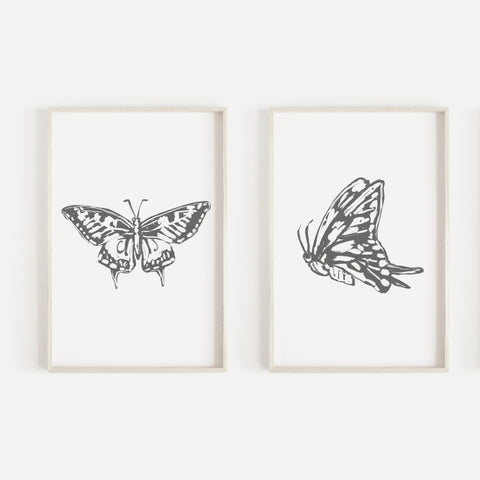 Butterfly Modern Minimalist Drawing Set of 2 Wall Art Print or Canvas - Jetty Home