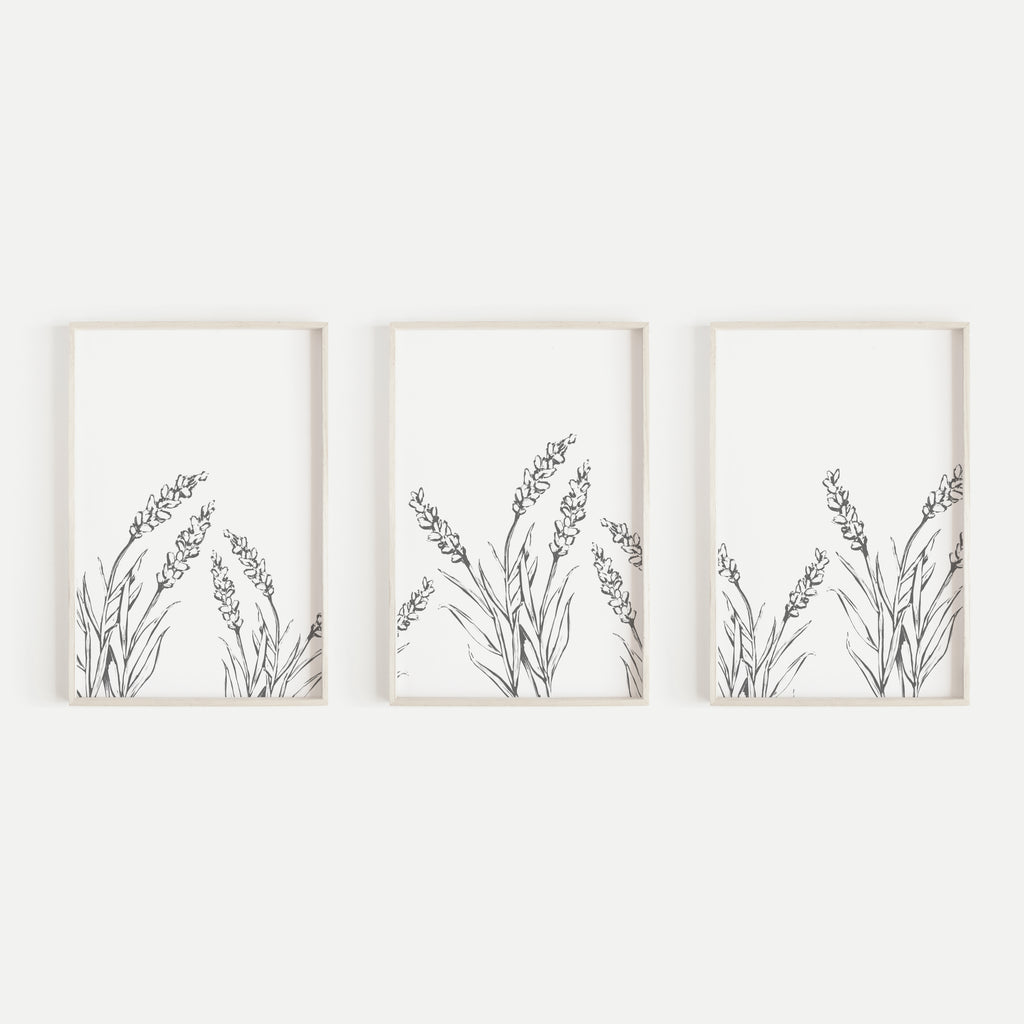 Lavender Modern Gray And White Triptych Set Of Three Wall Art Prints O Jetty Home
