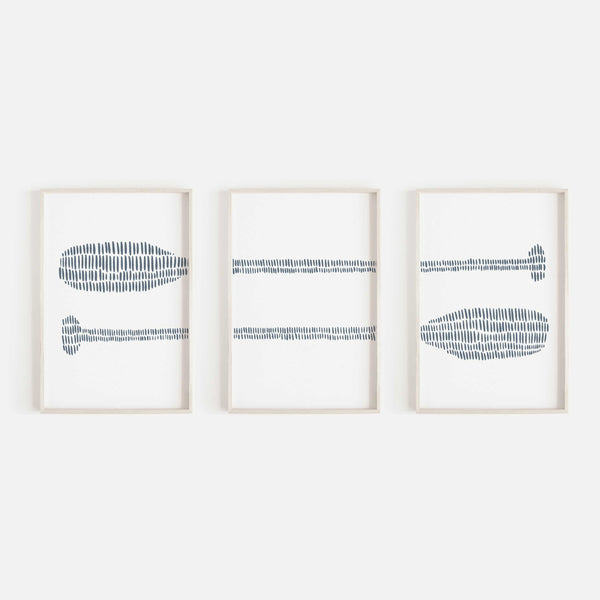 Paddle Oar Modern Nautical Blue Triptych Set of Three Wall Art Prints or Canvas - Jetty Home