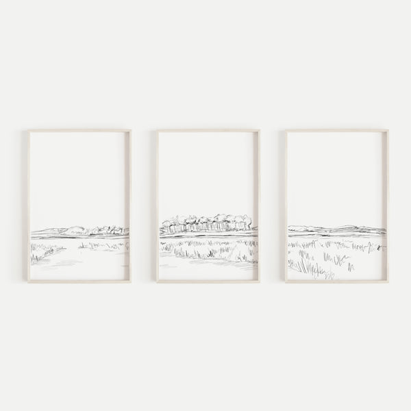 Marsh Lowcountry Illustration Triptych Set of Three Wall Art Prints or Canvas - Jetty Home