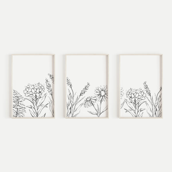 Flower Illustration Gray and White Triptych Set of Three Wall Art Prints or Canvas - Jetty Home