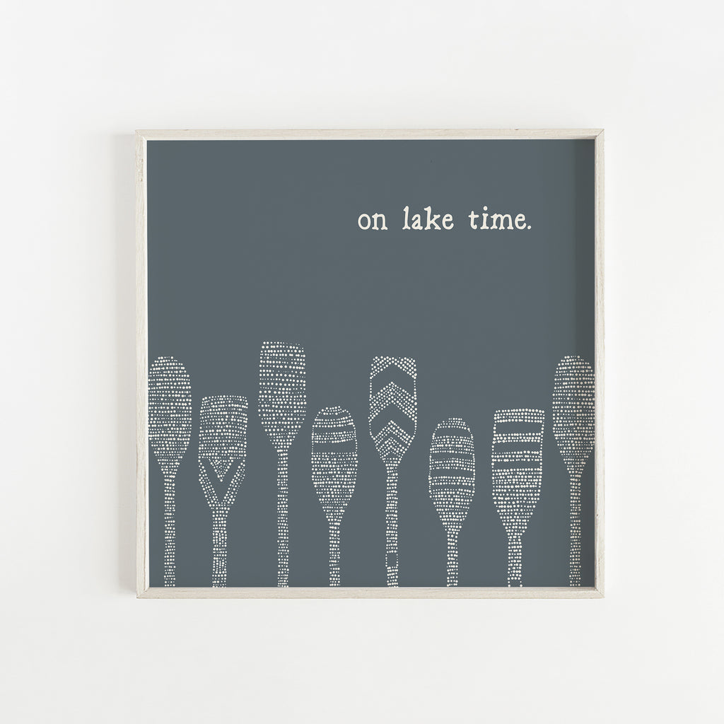 On Lake Time Paddle Illustration Wall Art Print or Canvas - Jetty Home