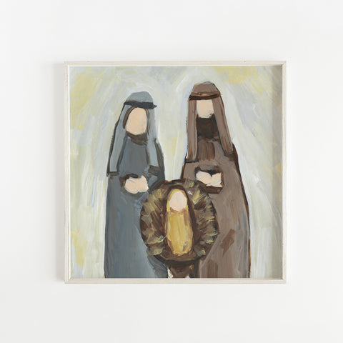 Mary and Joseph Modern Christmas Painting Wall Art Print or Canvas - Jetty Home