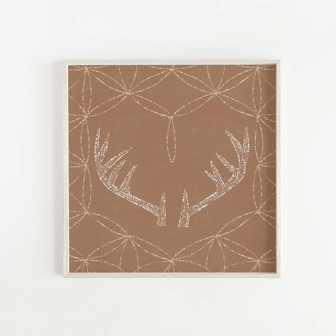 Rustic Modern Minimalist Deer Antlers Burnt Orange Wall Art Print or Canvas - Jetty Home