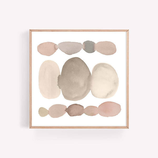 Minimalist Earth Tone Brown and Beige Watercolor Circle Wall Art Print or Canvas - Jetty Home