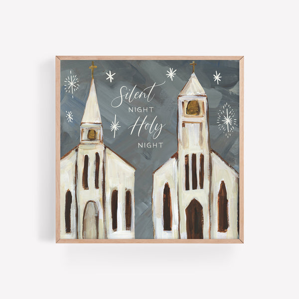 Silent Night Holy Night Modern Christmas Church Painting Wall Art Print or Canvas - Jetty Home
