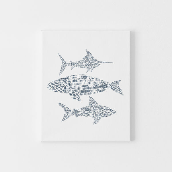 Modern Coastal Sea Creature Blue and White Illustrated Wall Art Print or Canvas - Jetty Home