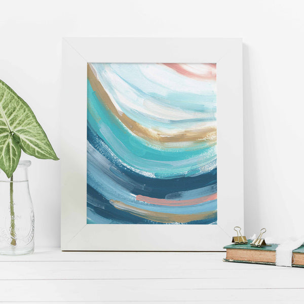 Abstract Wave Swell Trendy Ocean Painting Wall Art Print - Jetty Home