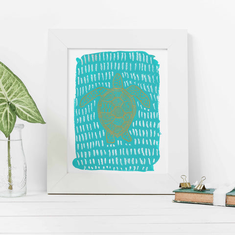 Turquoise Sea Turtle Modern Painting Wall Art Print - Jetty Home