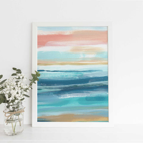 Beach Seascape Ocean Swell Abstract Painting Wall Art Print or Canvas - Jetty Home
