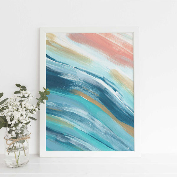 Modern Beach House Painting Blue, Turquoise and Salmon Wall Art Print or Canvas - Jetty Home