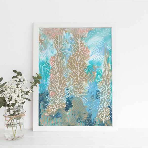 Modern Underwater Ocean Painting Wall Art Print or Canvas - Jetty Home