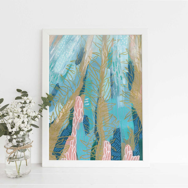 Abstract Ocean Scene Underwater Sea Life Wall Art Print or Canvas - Jetty Home